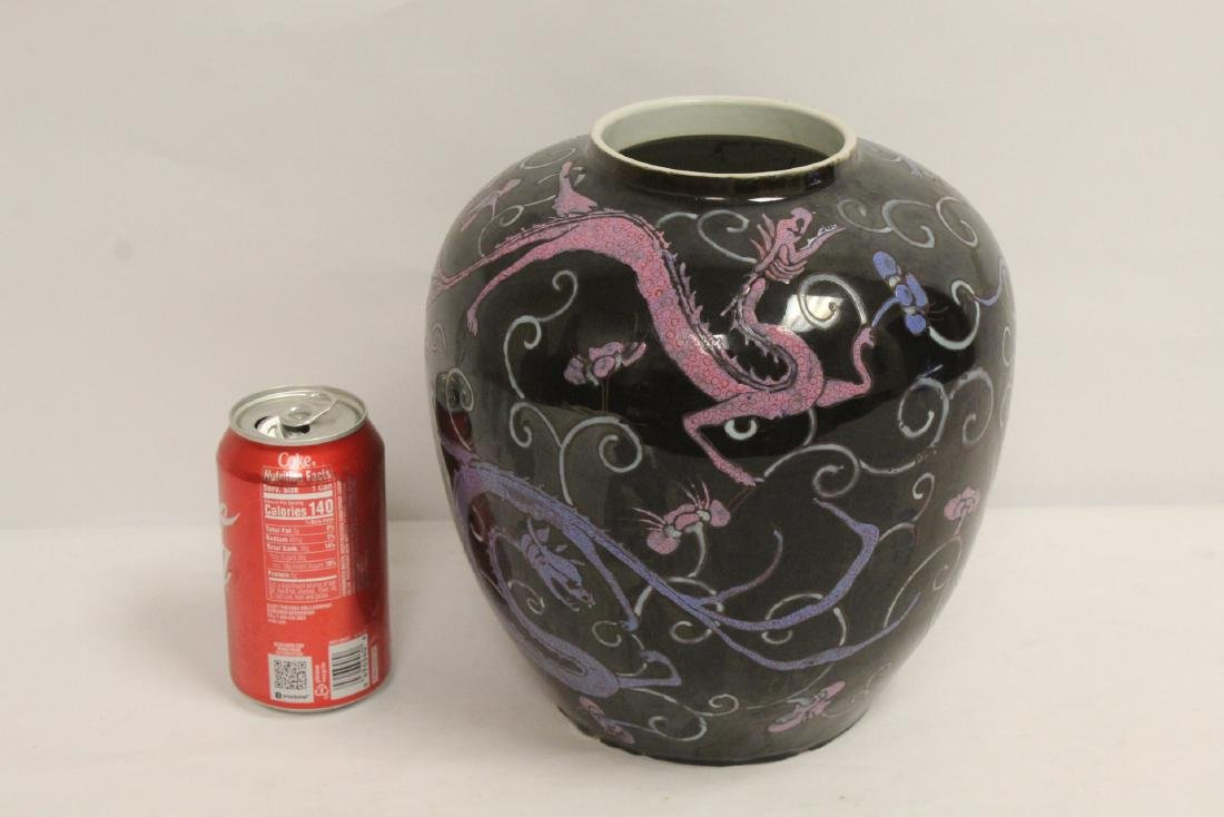 Chinese black background famille rose porcelain jar - 2