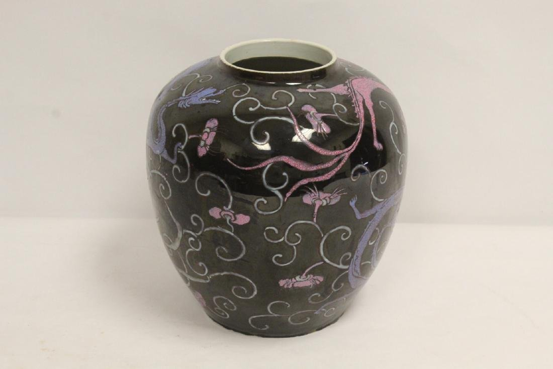 Chinese black background famille rose porcelain jar - 6