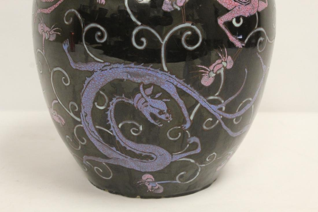 Chinese black background famille rose porcelain jar - 8