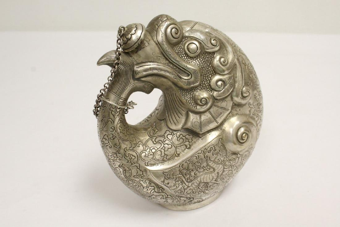 Chinese silver on bronze wine server - 10