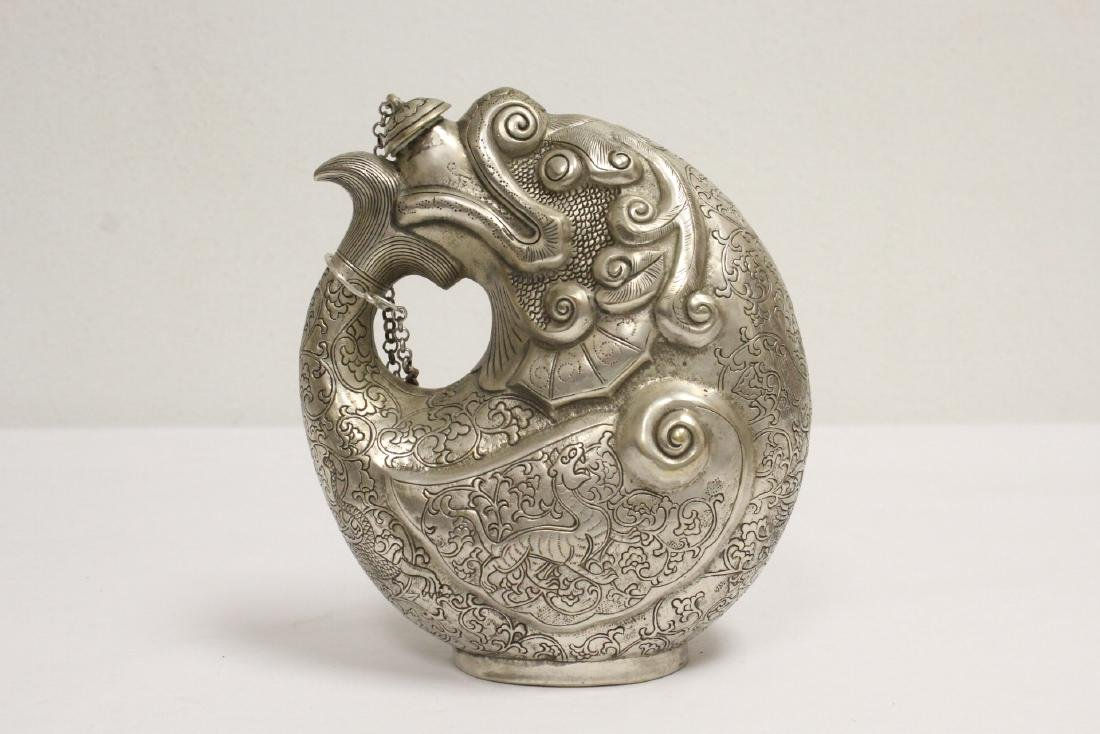 Chinese silver on bronze wine server