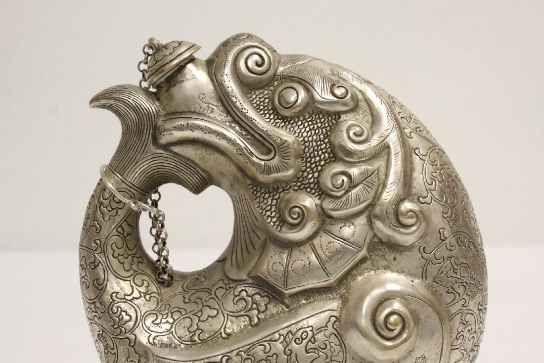 Chinese silver on bronze wine server - 6