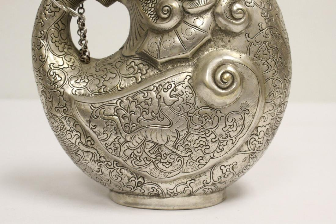 Chinese silver on bronze wine server - 7