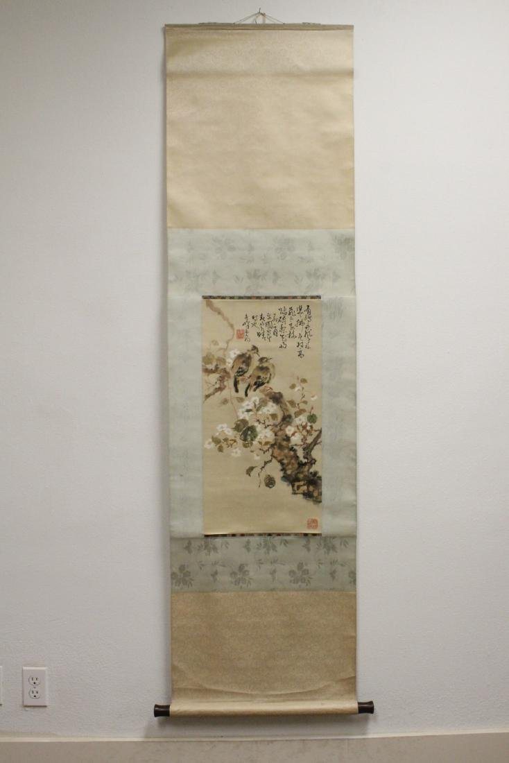 "Chinese watercolor scroll ""birds and flowers"" - 2"