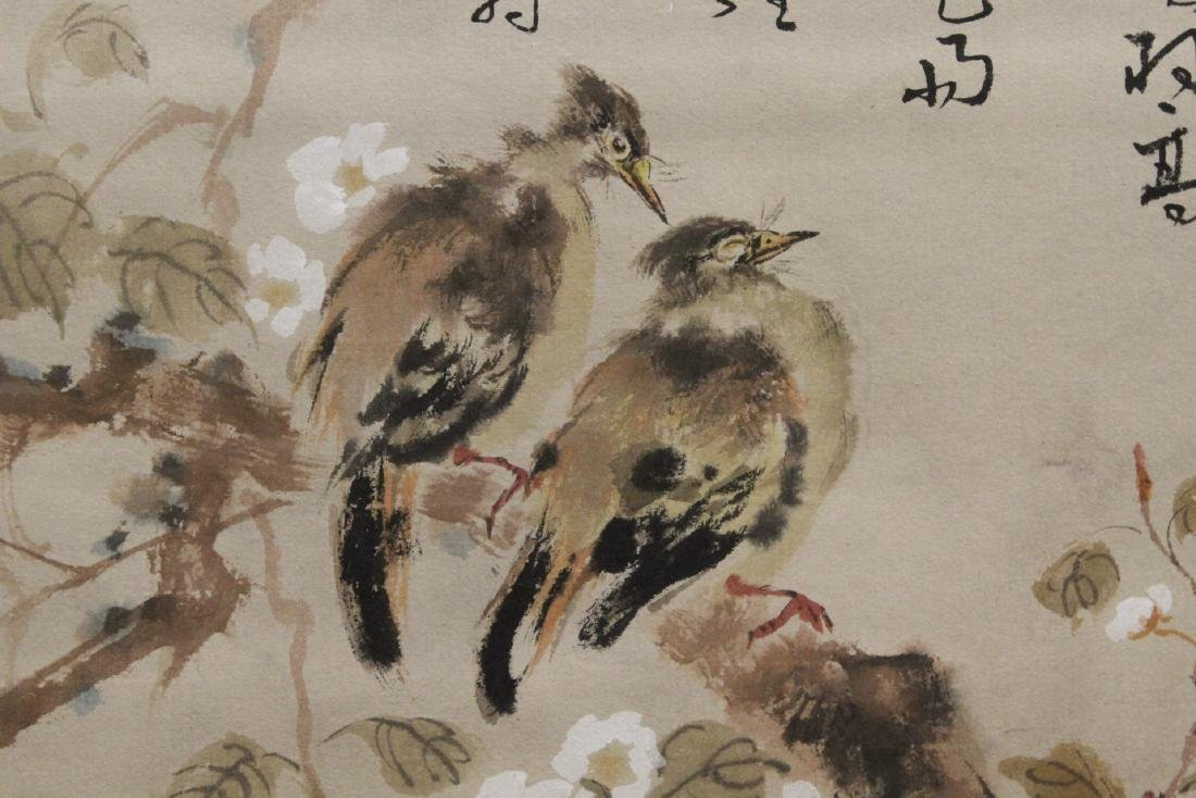 "Chinese watercolor scroll ""birds and flowers"" - 7"