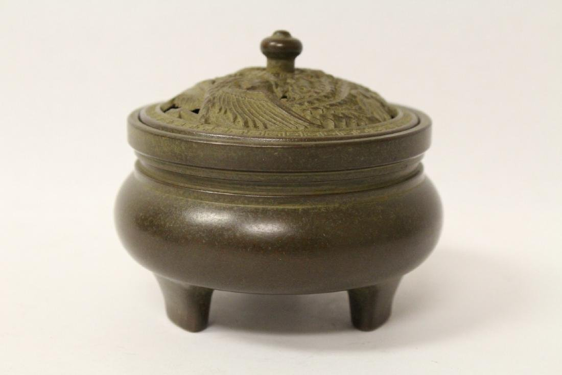Bronze covered censer, top in dragon motif - 2