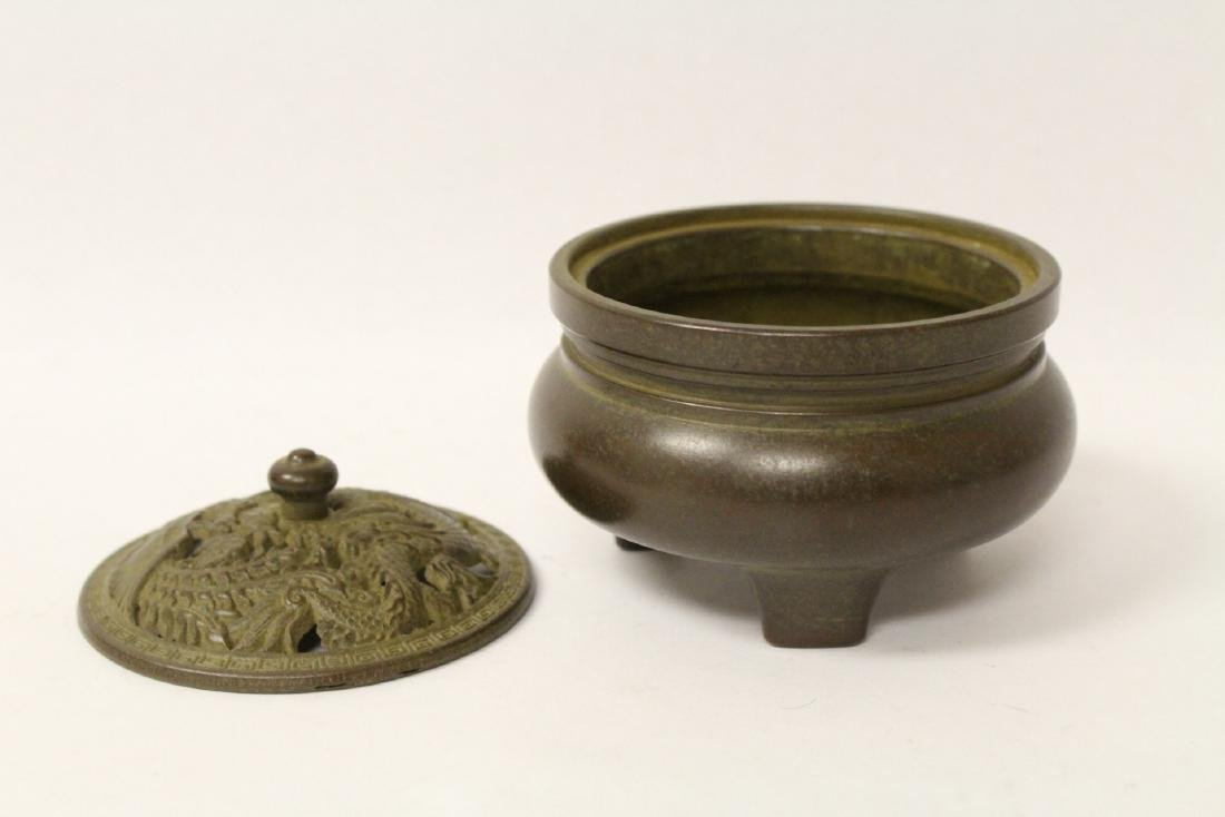 Bronze covered censer, top in dragon motif - 3