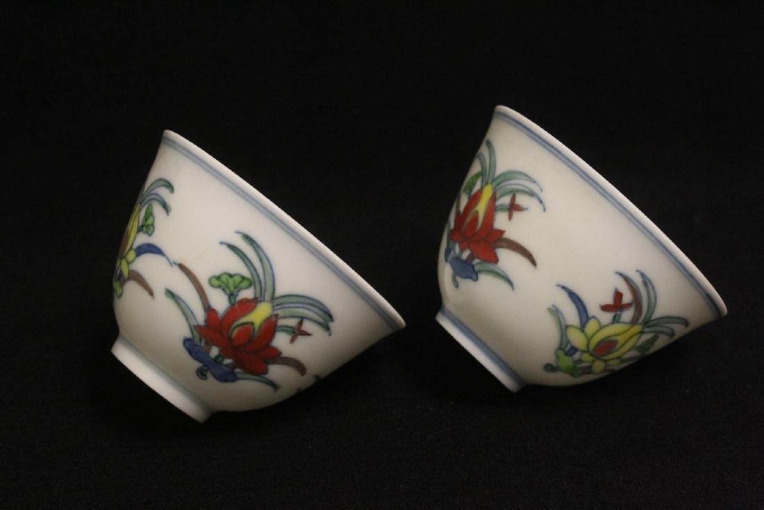 2 wucai tea bowls - 8
