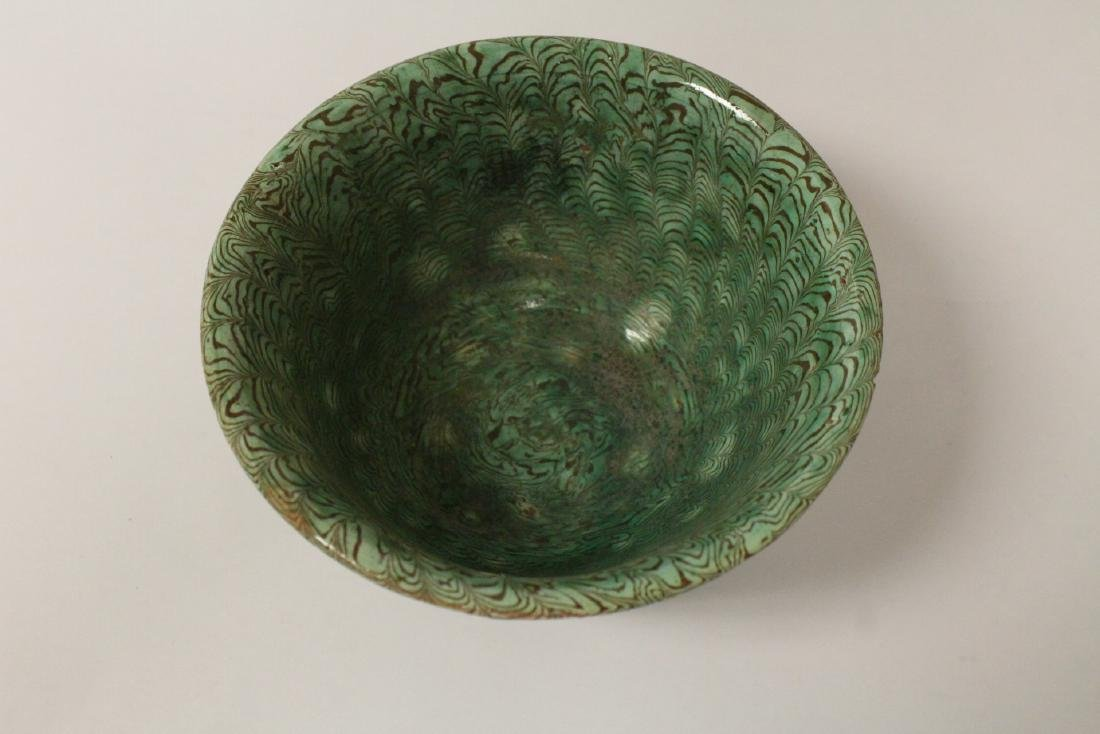 Chinese marbled pottery bowl - 5