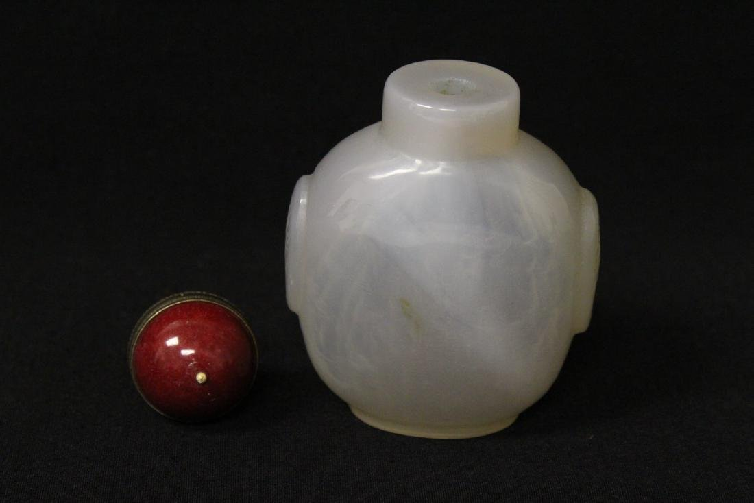 Agate like stone carved snuff bottle - 5