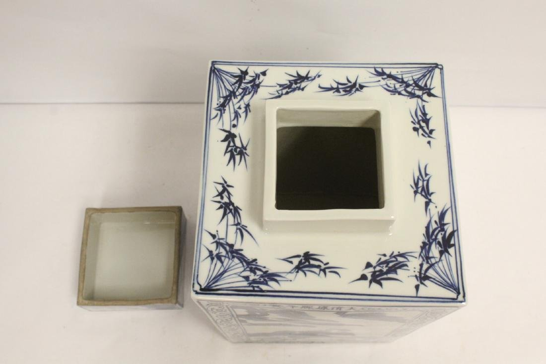 A b&w porcelain square covered tea jar - 6