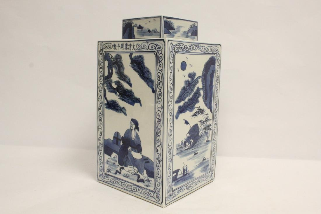 A b&w porcelain square covered tea jar - 9