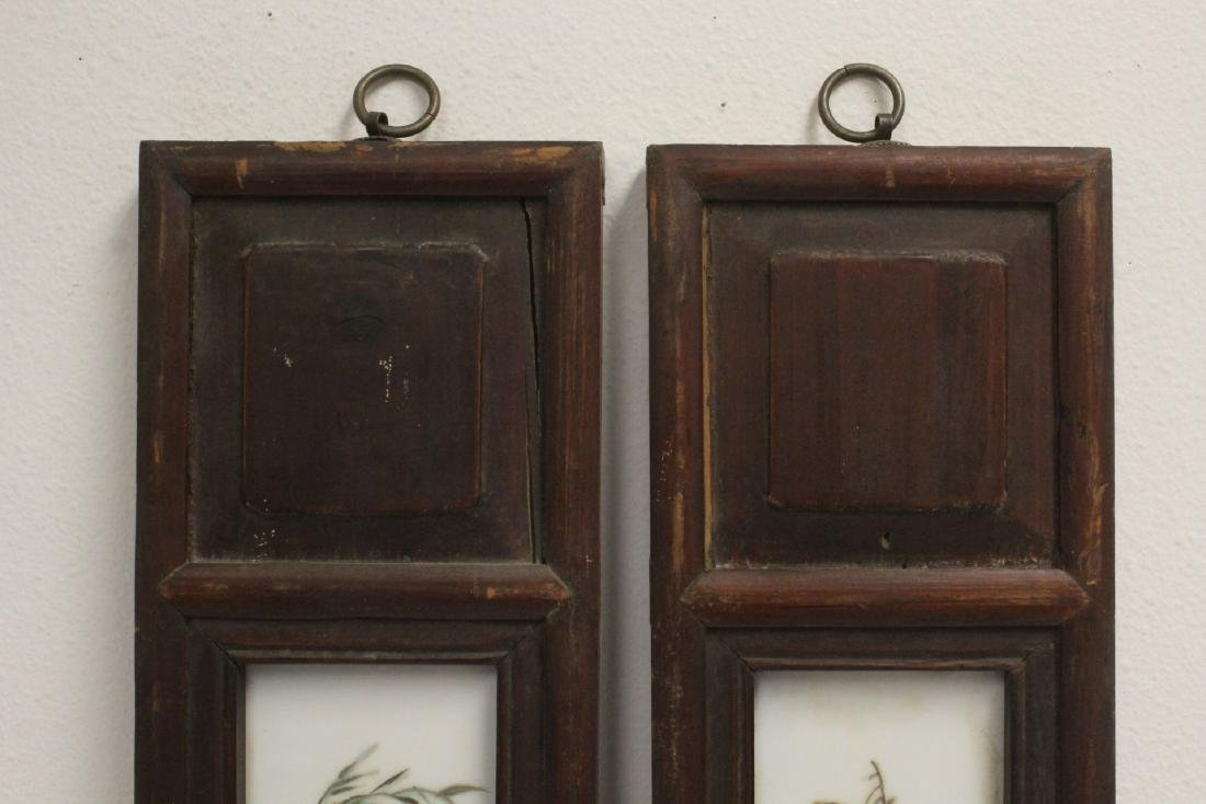 Pair Chinese vintage framed porcelain plaques - 2