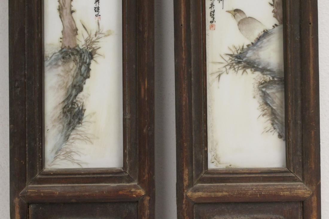 Pair Chinese vintage framed porcelain plaques - 5