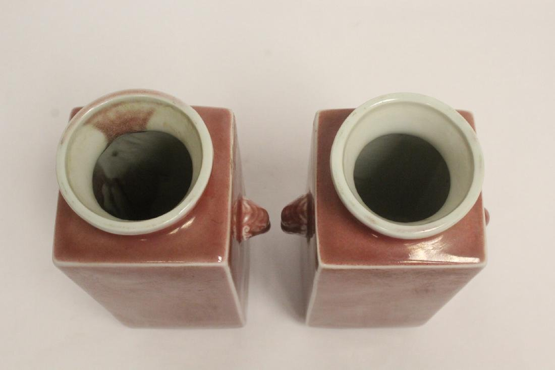 Pair peach color glazed square porcelain vases - 5