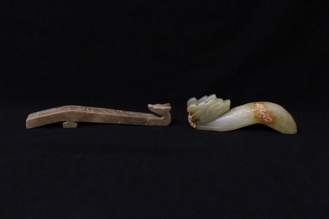 2 jade carved belt buckles