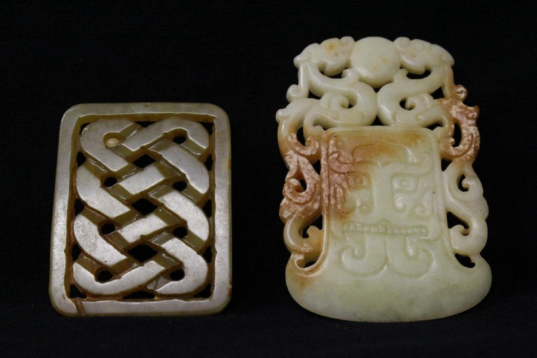 2 jade carved plaques