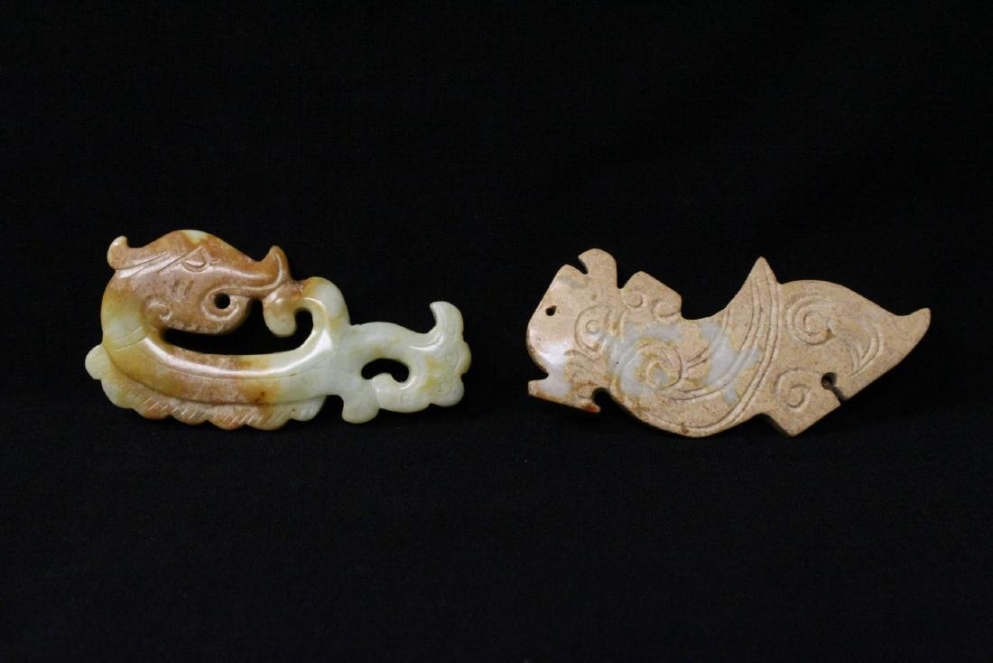 2 jade carved dragon motif ornament