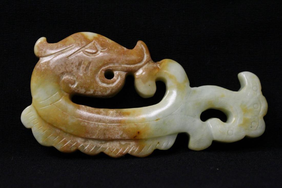 2 jade carved dragon motif ornament - 2