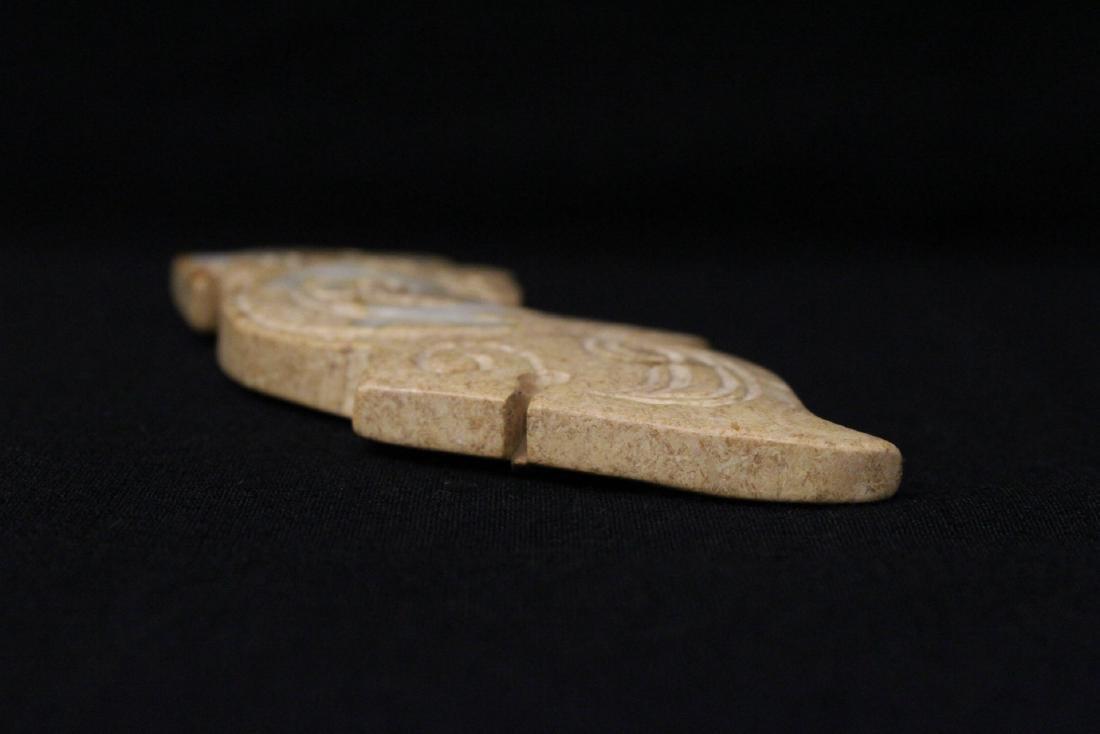 2 jade carved dragon motif ornament - 7