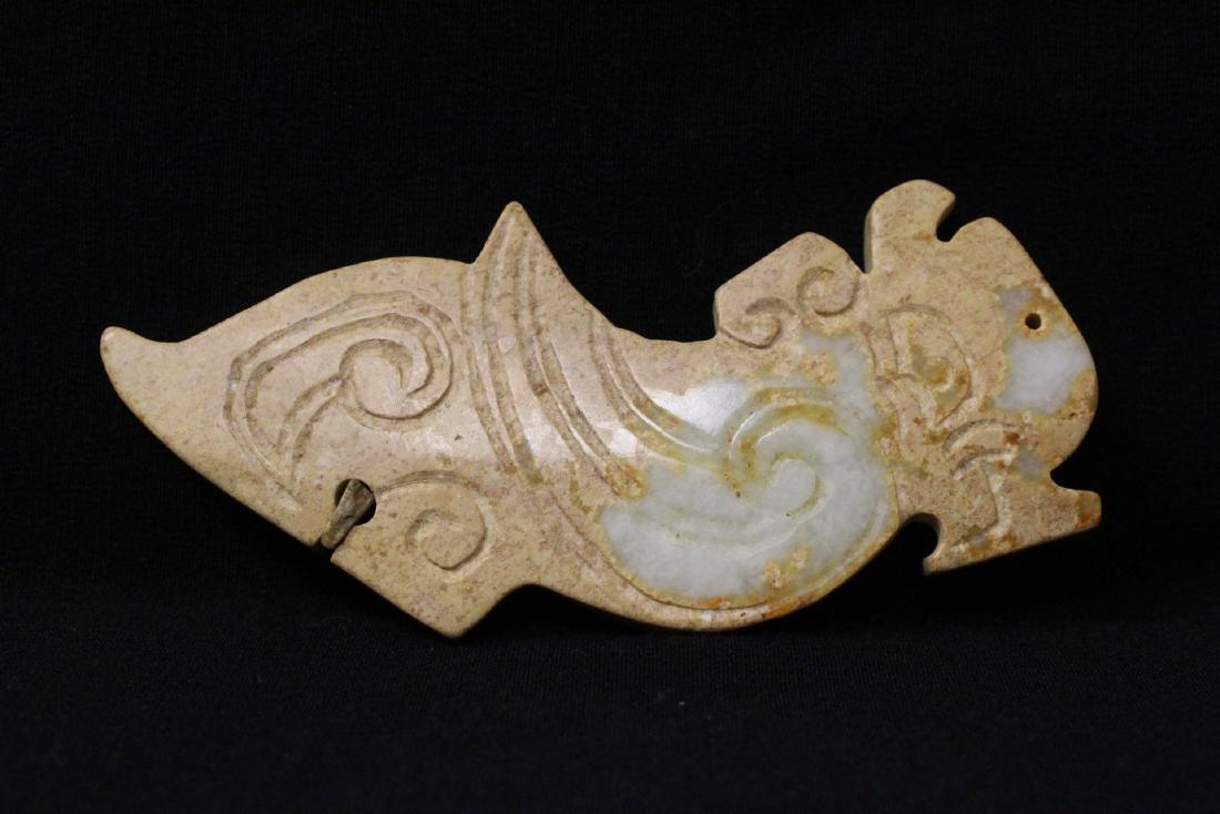 2 jade carved dragon motif ornament - 9