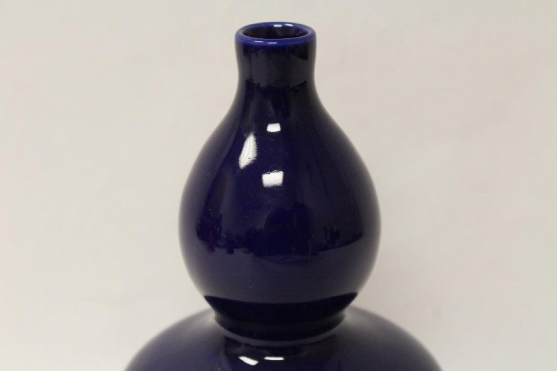 Blue glazed gourd shape vase - 3
