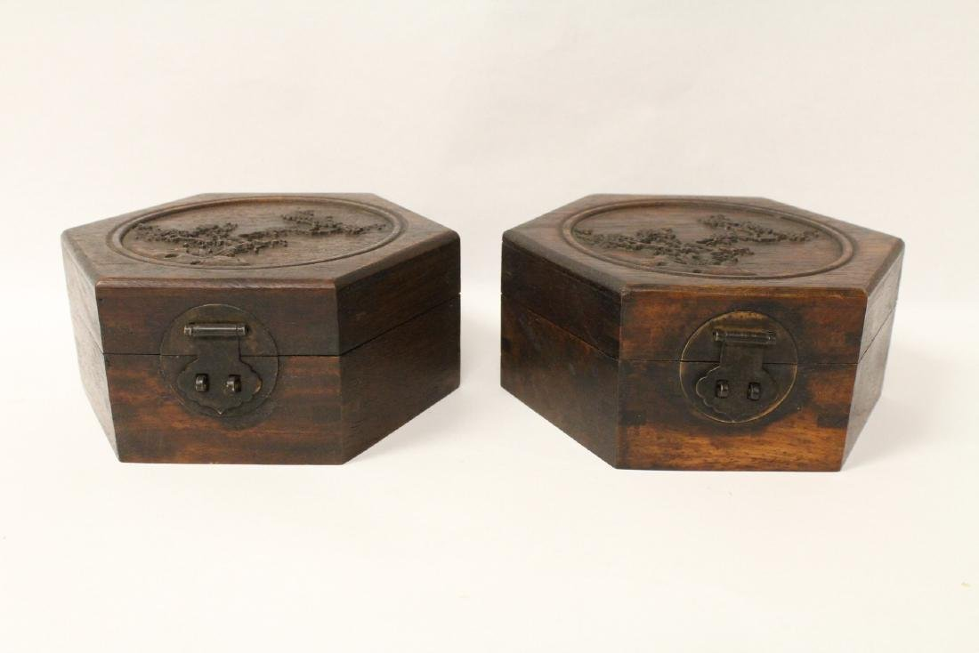 2 hexagonal wood boxes