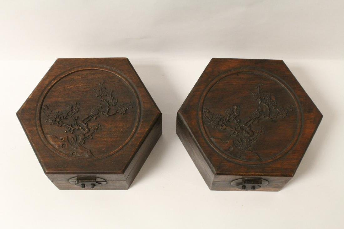2 hexagonal wood boxes - 2