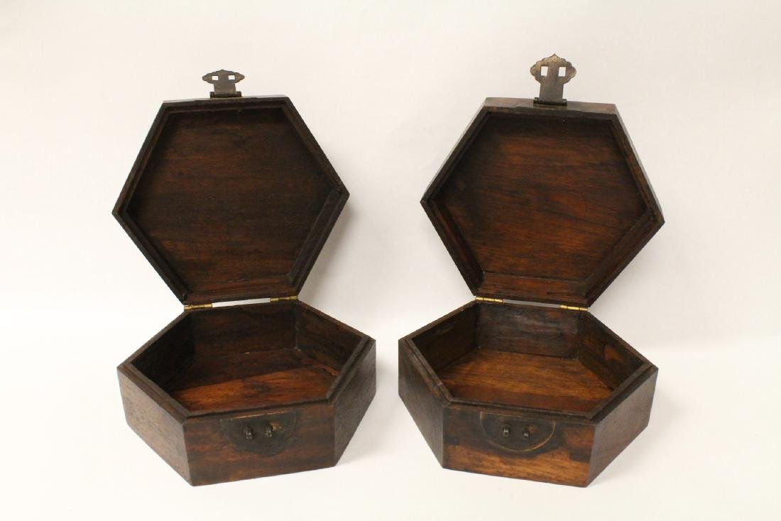 2 hexagonal wood boxes - 3