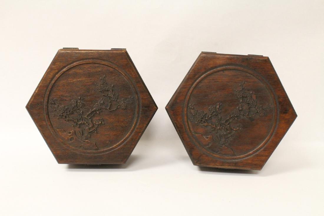 2 hexagonal wood boxes - 4
