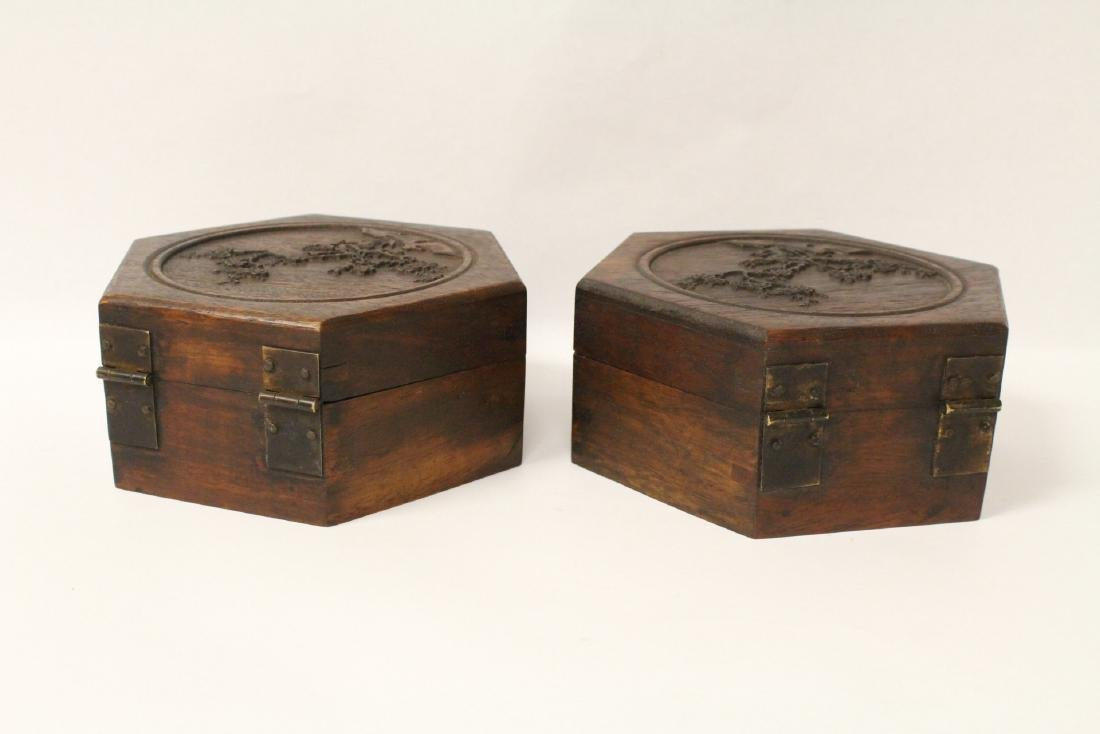 2 hexagonal wood boxes - 5