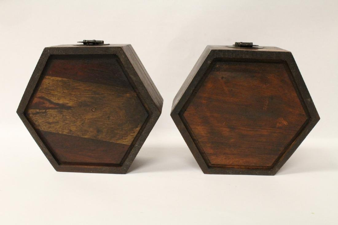 2 hexagonal wood boxes - 6