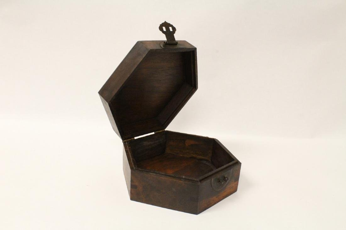 2 hexagonal wood boxes - 8