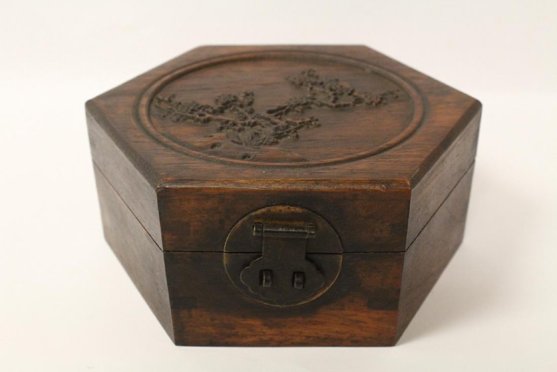 2 hexagonal wood boxes - 9