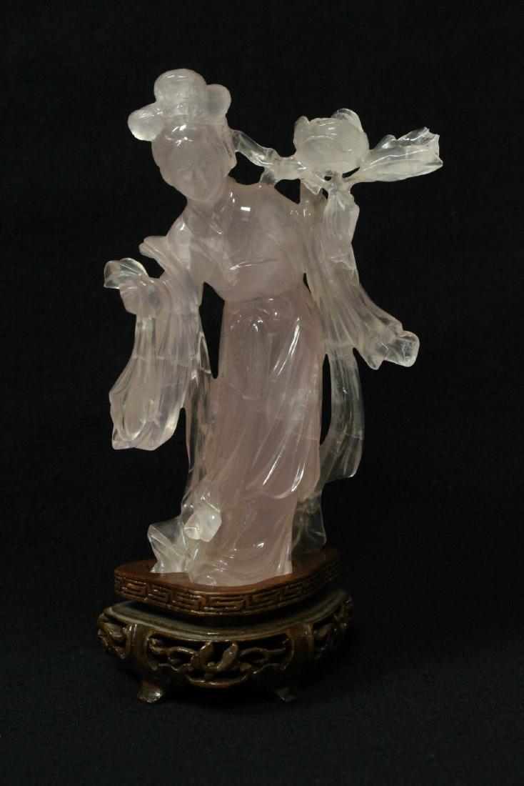 Rose quartz carved Guanyin
