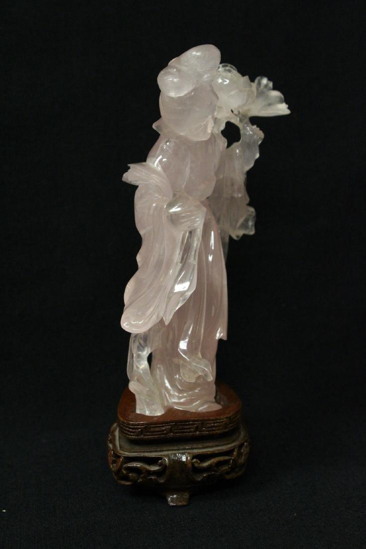 Rose quartz carved Guanyin - 2