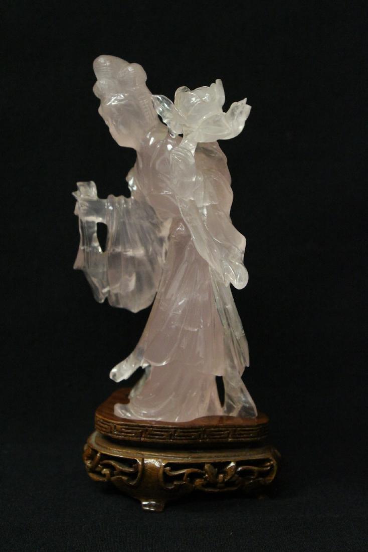 Rose quartz carved Guanyin - 3