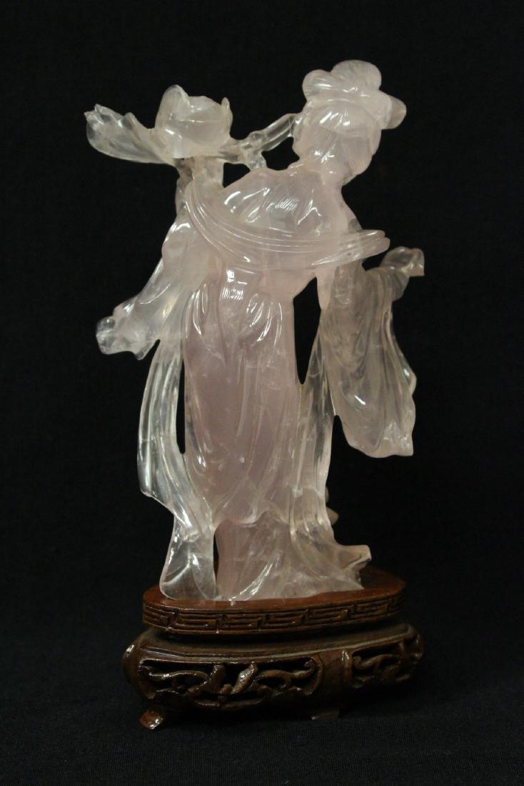 Rose quartz carved Guanyin - 4