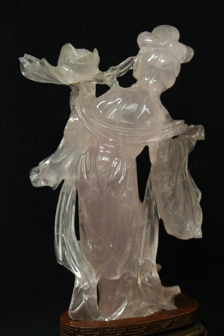 Rose quartz carved Guanyin - 5