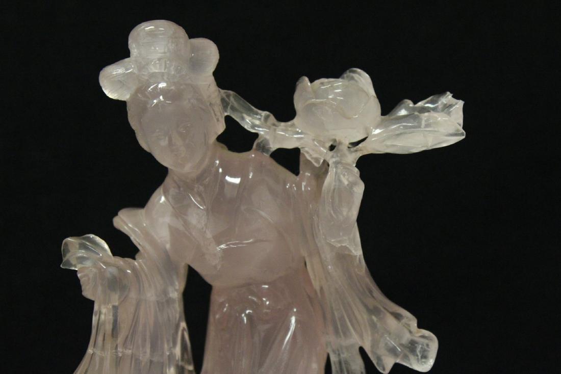 Rose quartz carved Guanyin - 7