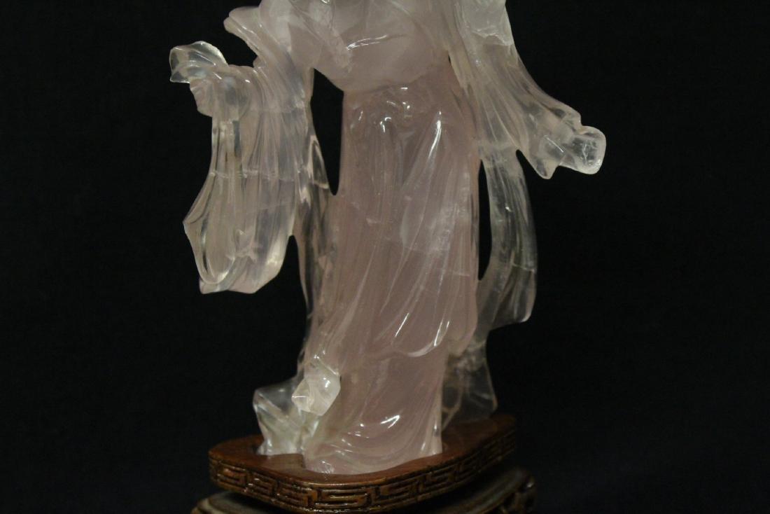 Rose quartz carved Guanyin - 8
