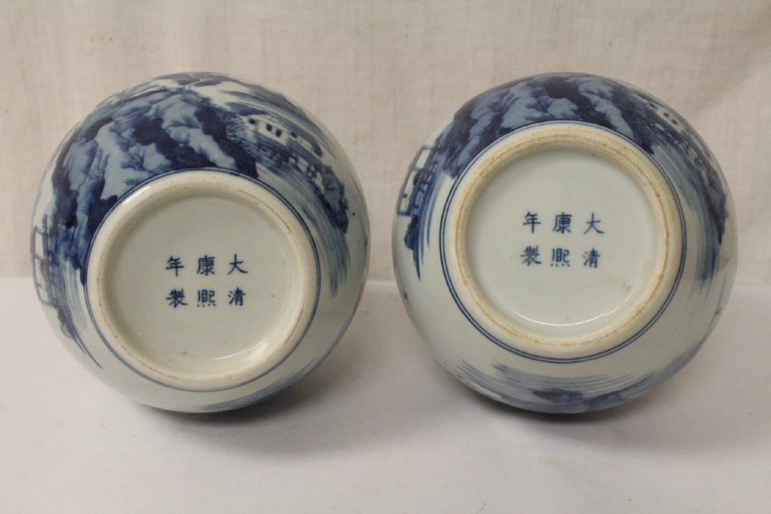 Pair blue and white porcelain bottle vases - 10