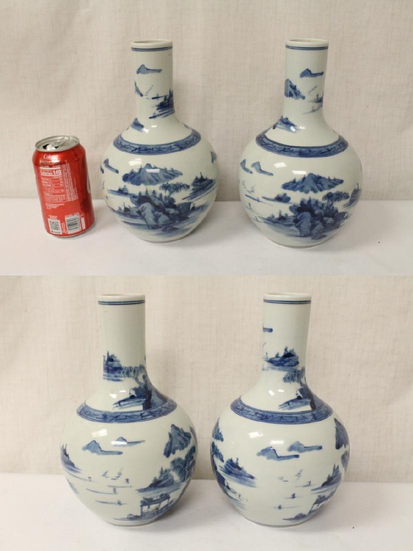 Pair blue and white porcelain bottle vases - 2
