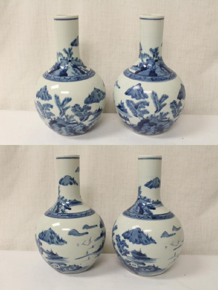 Pair blue and white porcelain bottle vases - 3