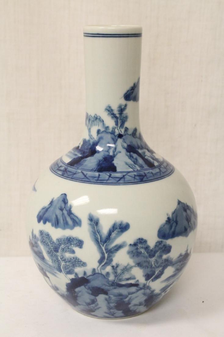Pair blue and white porcelain bottle vases - 4