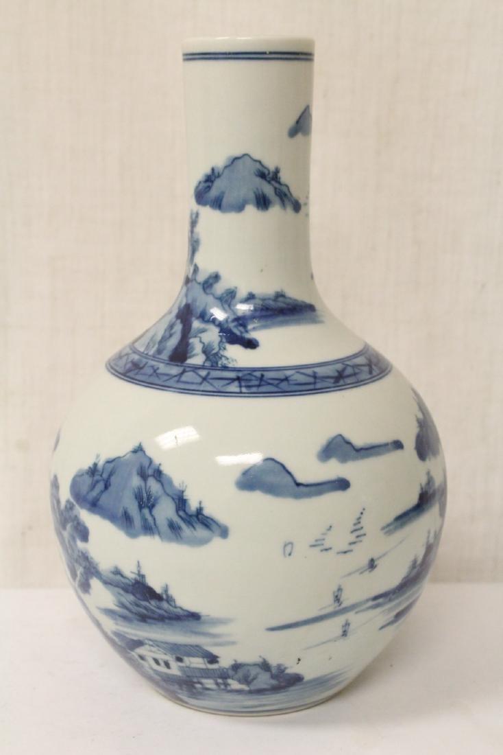 Pair blue and white porcelain bottle vases - 5