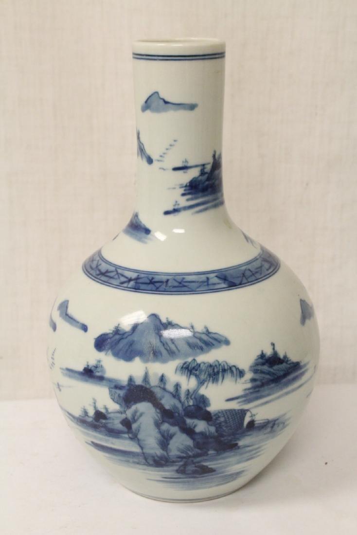 Pair blue and white porcelain bottle vases - 6