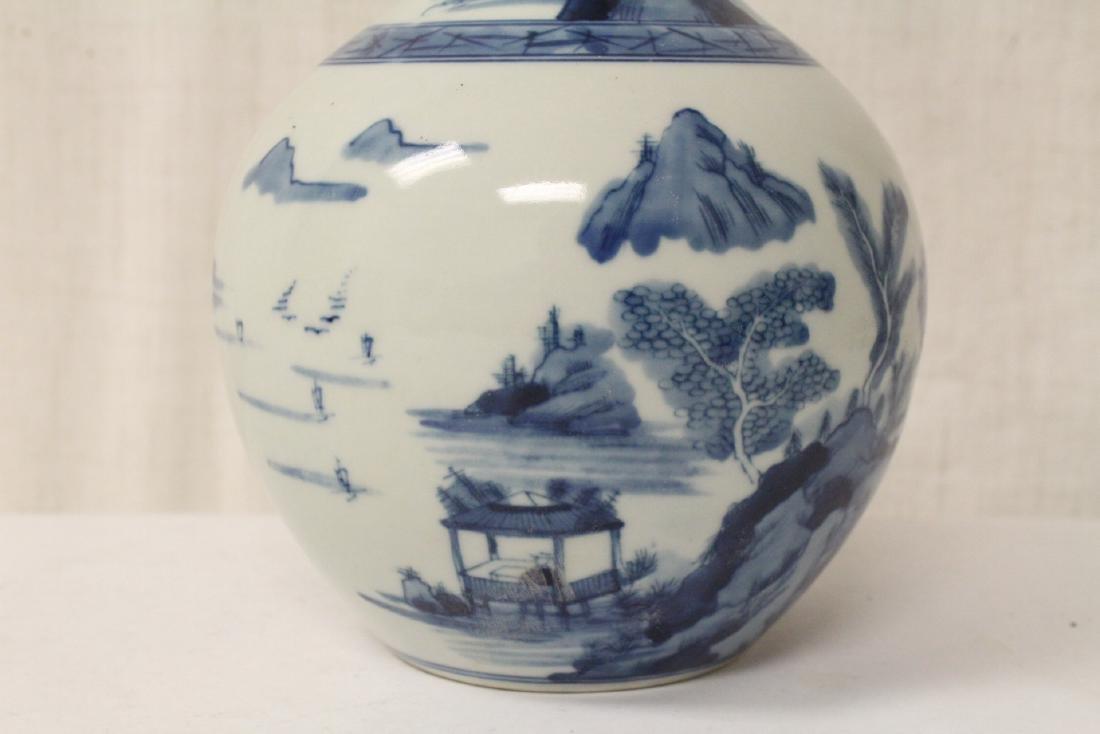 Pair blue and white porcelain bottle vases - 8