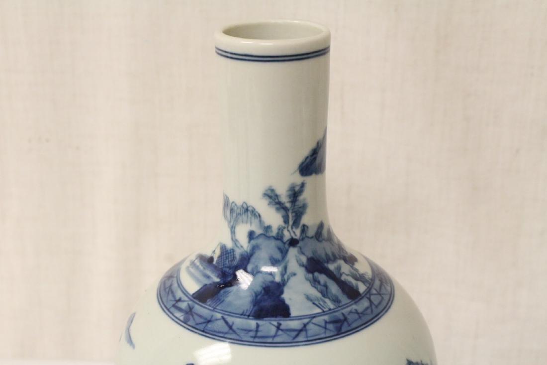 Pair blue and white porcelain bottle vases - 9