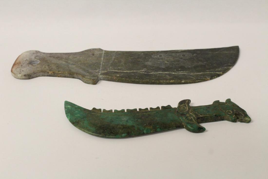 2 jade carved knives - 10